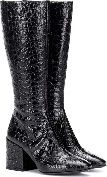 Croc-embossed leather boots