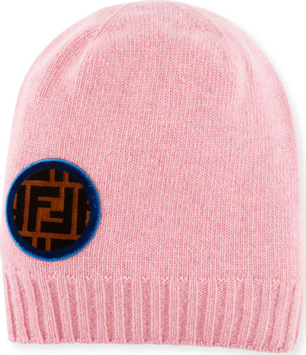Fendi Circle-Logo Wool-Cashmere Knit Beanie Hat
