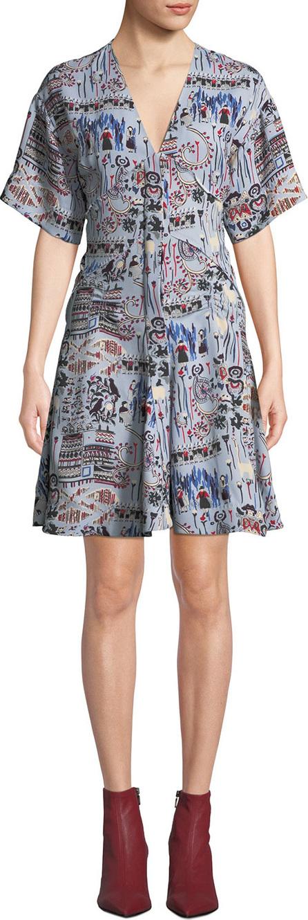 Carven Printed V-Neck Short-Sleeve Dress