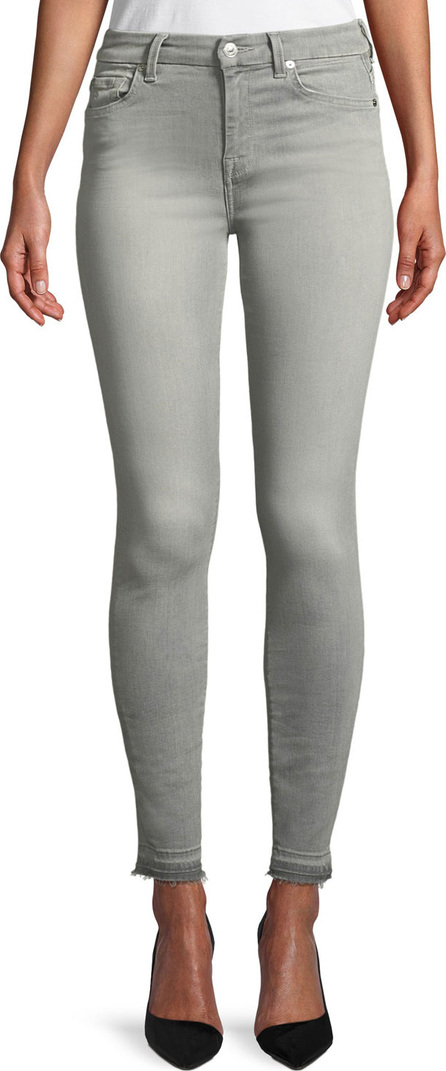 7 For All Mankind The High-Waist Ankle Skinny Jeans with Released Hem, B(Air) Powdered Gray