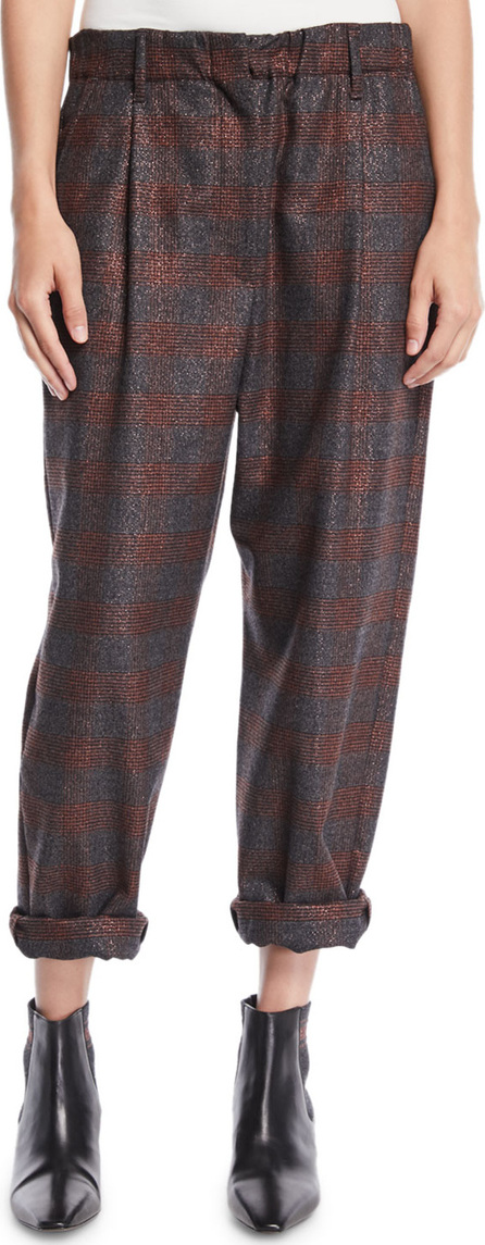 Brunello Cucinelli Metallic-Plaid Pull-On Pants