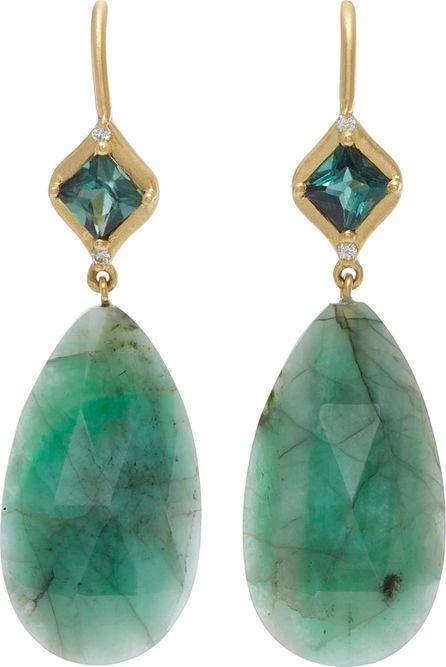 Jamie Wolf 18K Gold, Emerald, And Diamond Mosaic Green Tourmaline Earrings