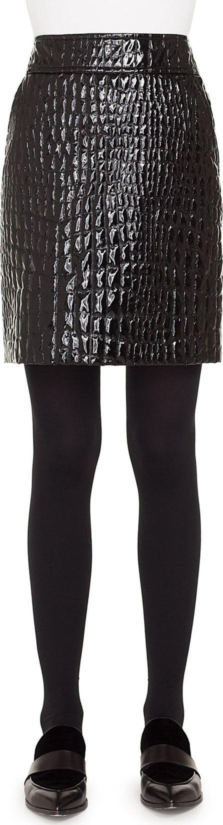 Akris Punto Croc Embossed Faux Patent Leather Skirt
