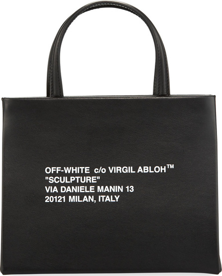 Off White Small Diagonal-Stripe Box Tote Bag