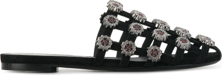 Ermanno Scervino Embellished caged flat sandals