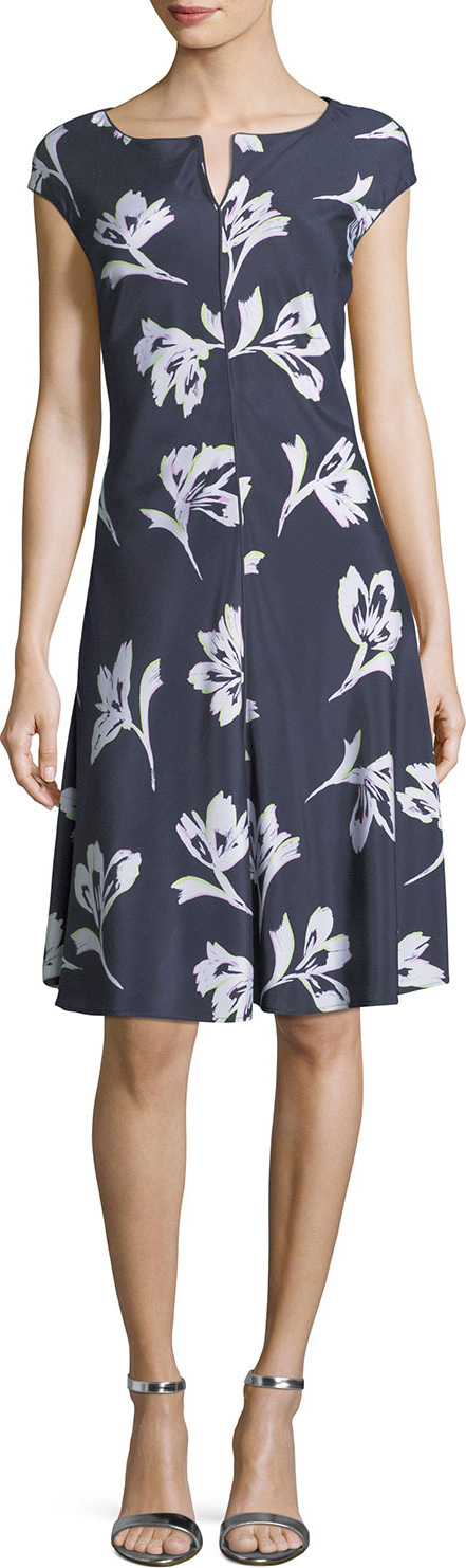 St. John Falling Flower Short-Sleeve Silk Dress