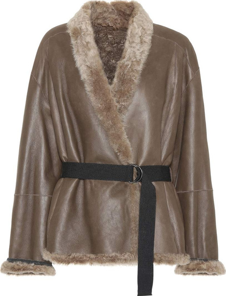 Brunello Cucinelli Fur-trimmed leather jacket