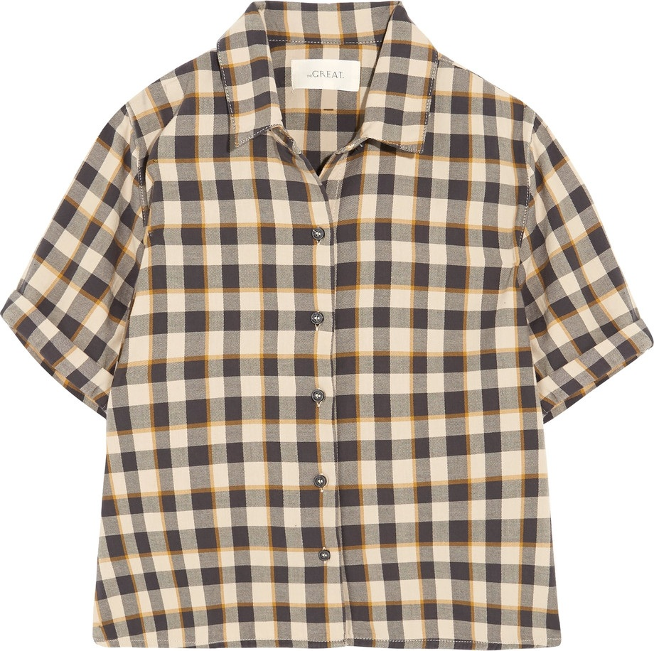 THE GREAT. - The Bias cropped checked cotton shirt