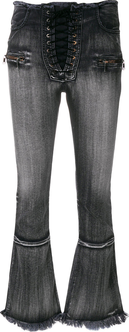 Ben Taverniti Unravel Project Washed lace front cropped bootcut jeans