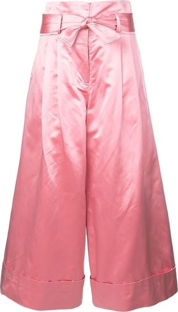 Adam Lippes High Wasted Satin Wide Leg Culottes