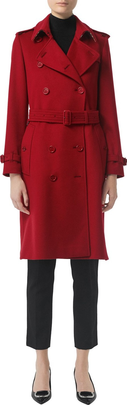 Burberry London England Kensington Cashmere Belted Trench Coat