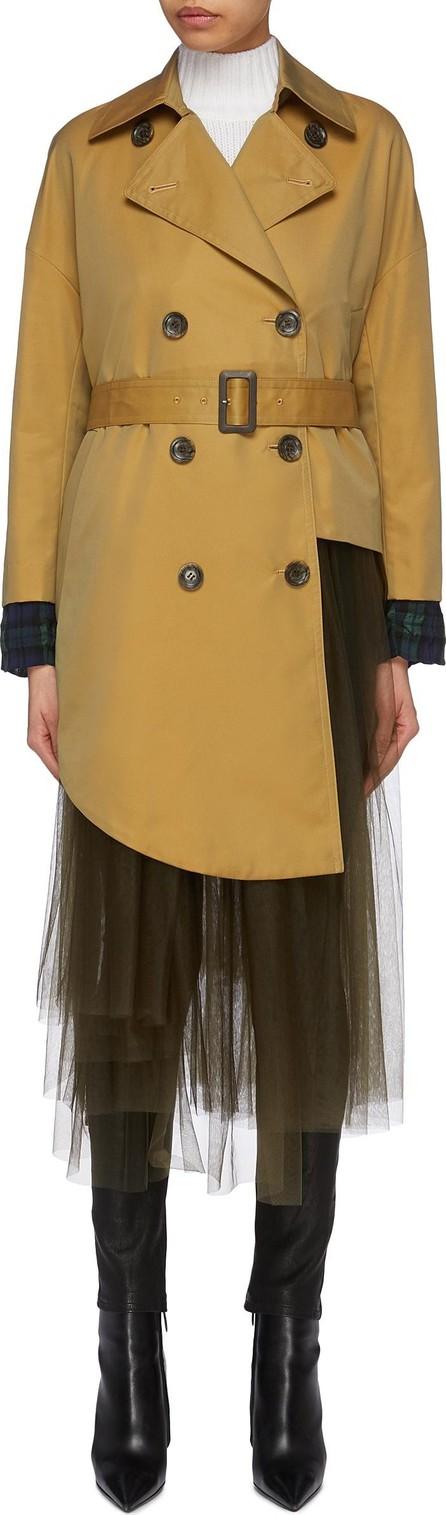 Enfold Belted tulle hem asymmetric trench coat