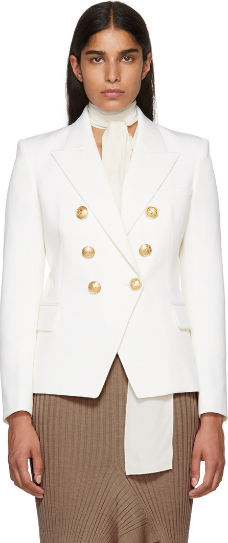 Balmain White Wool Six-Button Blazer