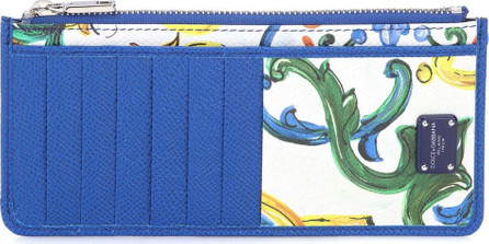 Dolce & Gabbana Printed leather zipped card holder