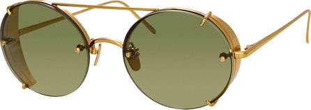 Linda Farrow Oval Titanium Sunglasses