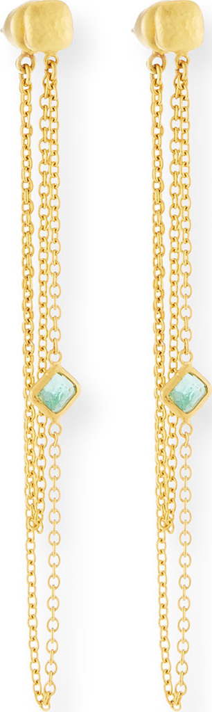 GURHAN Limited Edition 22k Elements Hue Double-Chain Earrings  with Emerald