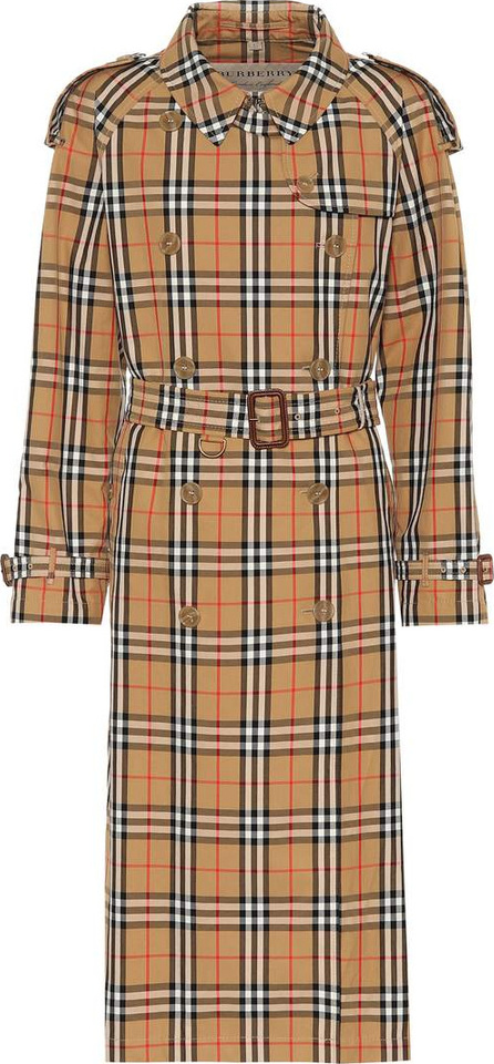 Burberry London England Checked cotton trench coat