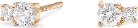 Lana 14k Gold Double-Diamond Stud Earrings