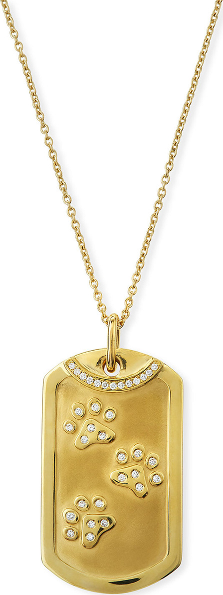 Roberto Coin 18k Gold Diamond Dog Tag Paw Print Necklace