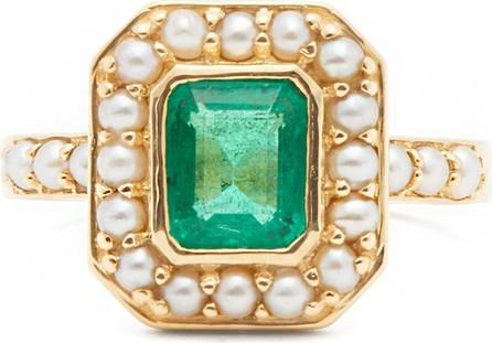 Jade Jagger Emerald, pearl & 18kt gold ring