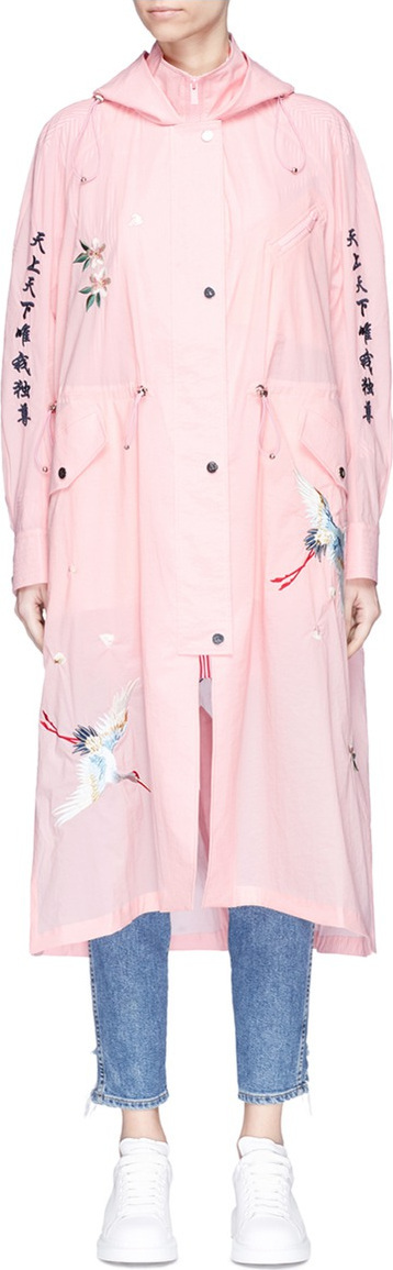Angel Chen Graphic embroidered hooded windbreaker jacket