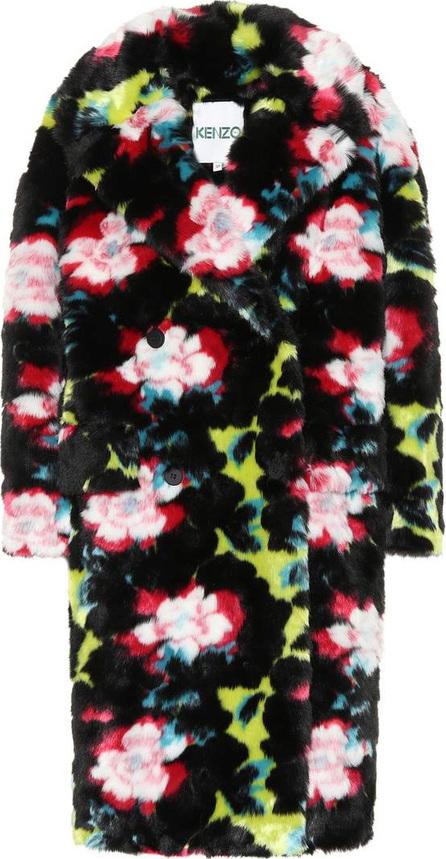 KENZO Floral faux fur coat