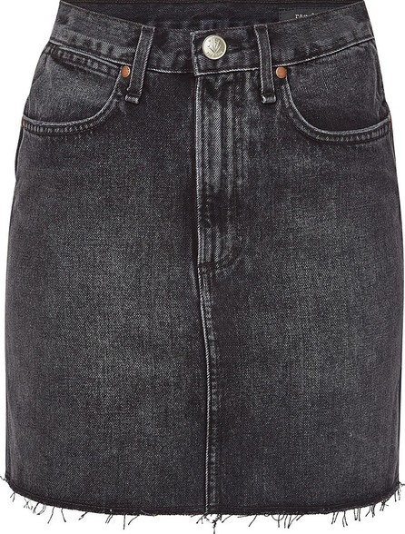 Rag & Bone Moss Denim Mini Skirt with Distressed Hem