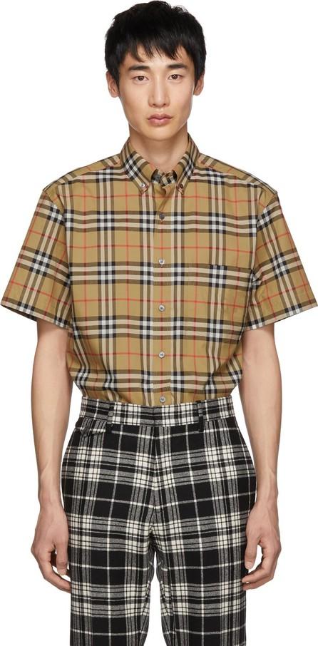 Burberry London England Beige Vintage Check Short Sleeve Shirt