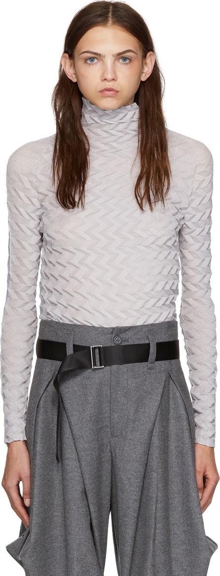 Issey Miyake Beige Zig Zag Pleated Turtleneck Sweater