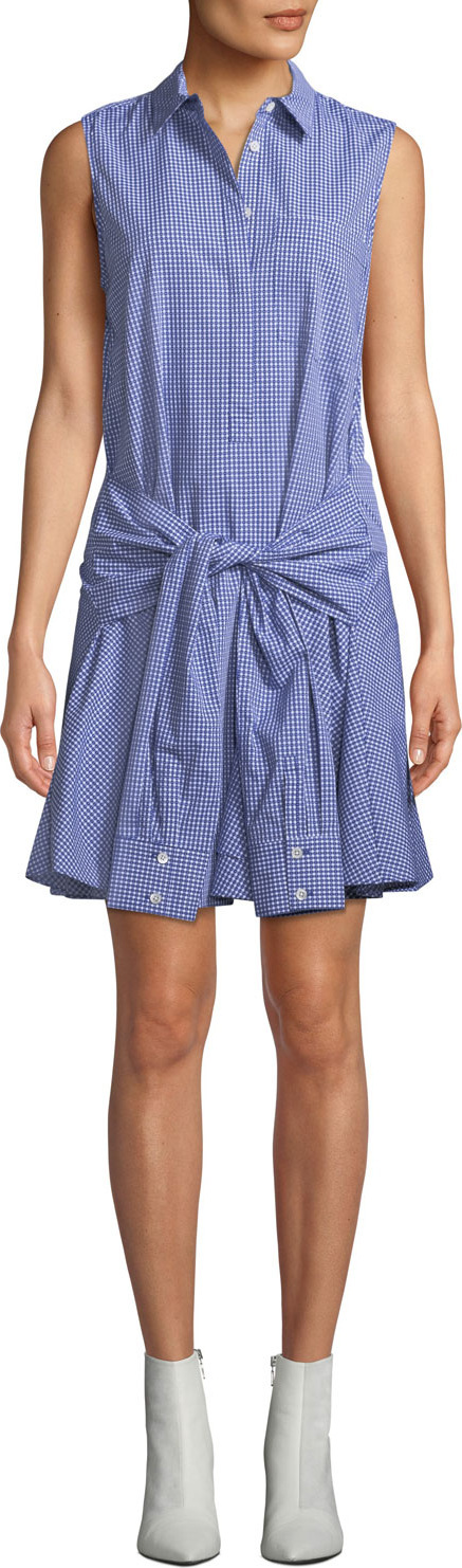 Derek Lam 10 Crosby Sleeveless Tie-Waist Check Shirtdress