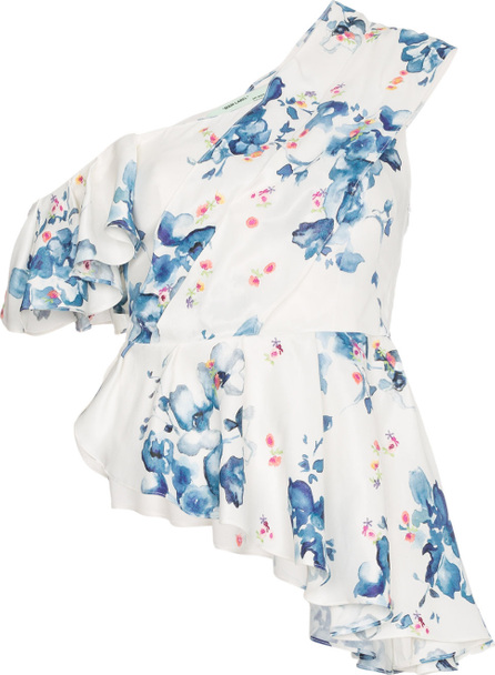 Off White X Browns floral print off-shoulder asymmetric ruffle top