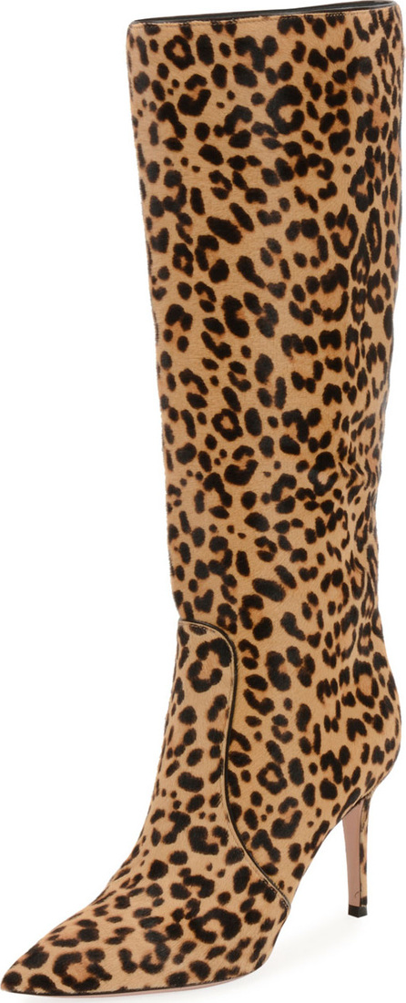 Gianvito Rossi Leopard-Print Calf Hair Knee Boots