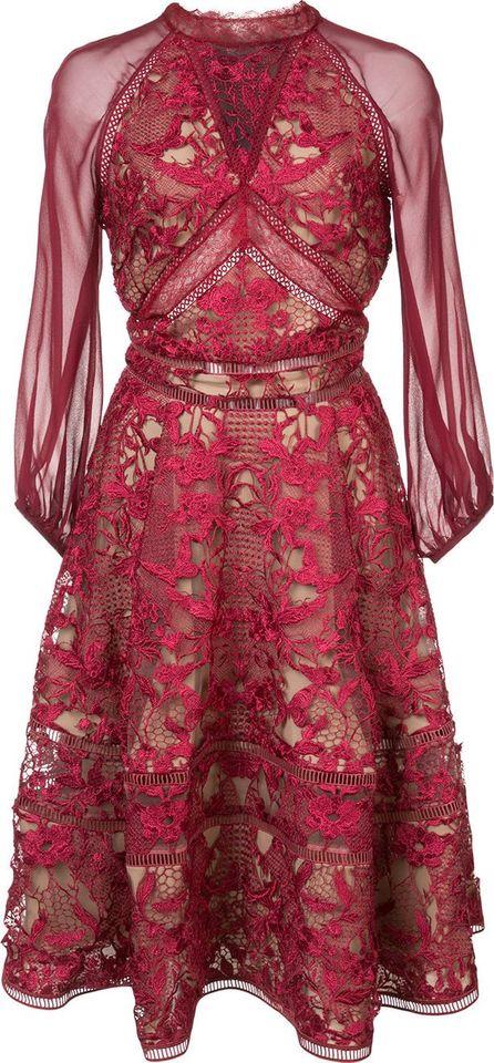 Marchesa Notte cocktail lace dress