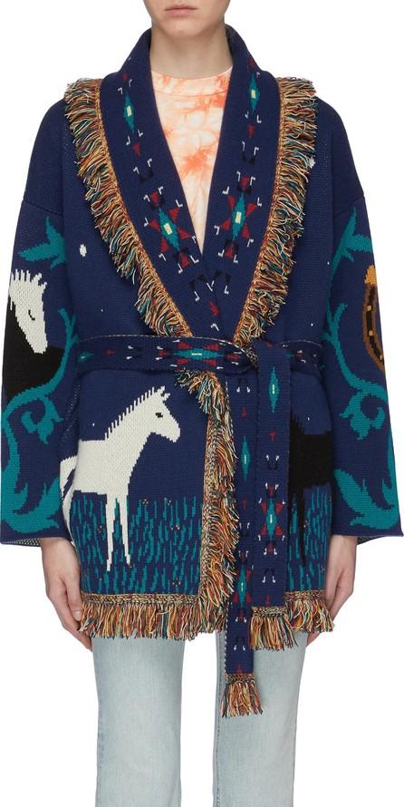 Alanui 'Horses In Love' belted fringe graphic jacquard oversized cashmere cardigan