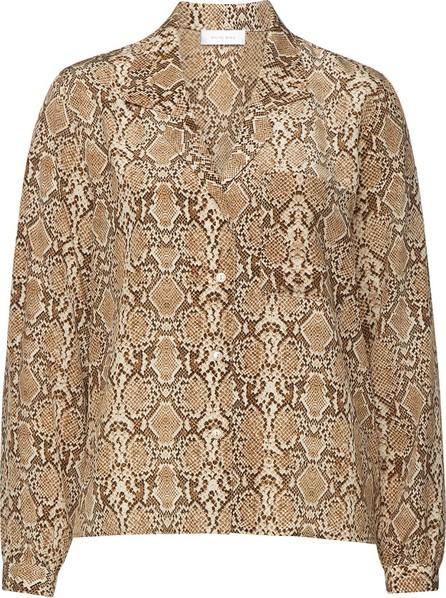 ANINE BING Lilah Snakeskin Printed Silk Blouse