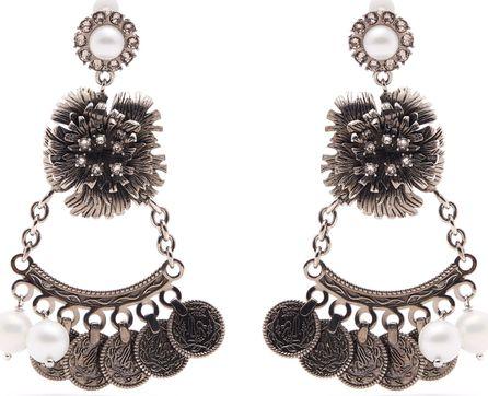 Erdem Faux-pearl flower-drop clip-on earrings