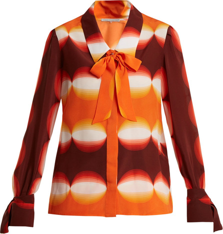 Graphic-print pussy-bow silk blouse