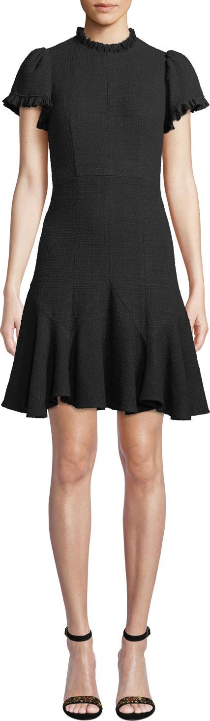 Rebecca Taylor Short-Sleeve Ruffle Tweed Short Dress