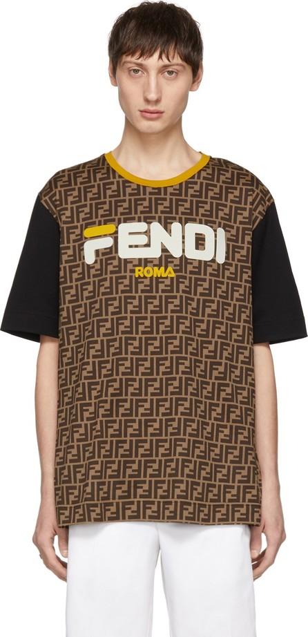 Fendi Brown 'Fendi Mania' T-Shirt