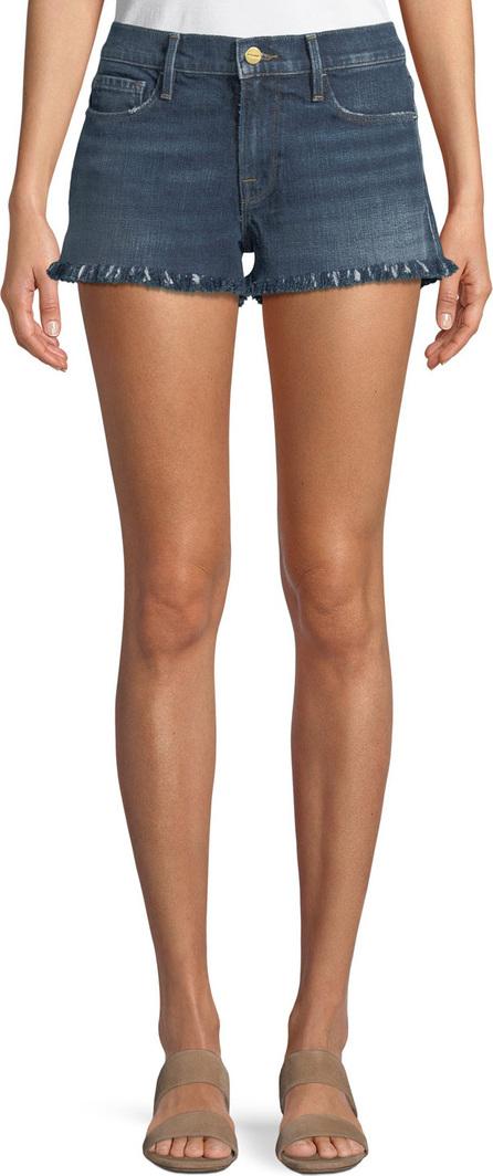 FRAME DENIM Le Cutoff Shredded Raw-Hem Denim Shorts