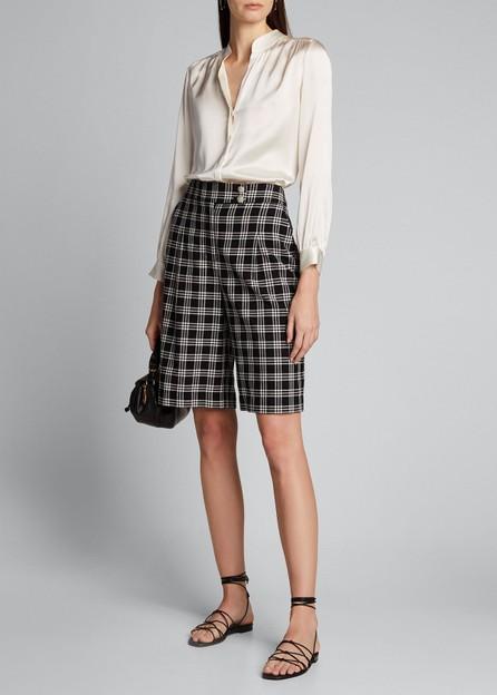 Veronica Beard Saira Check Culotte Shorts