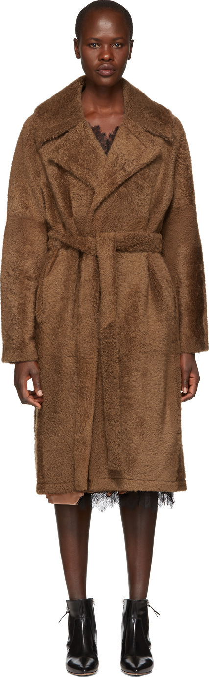 Helmut Lang Brown Shearling Belted Coat