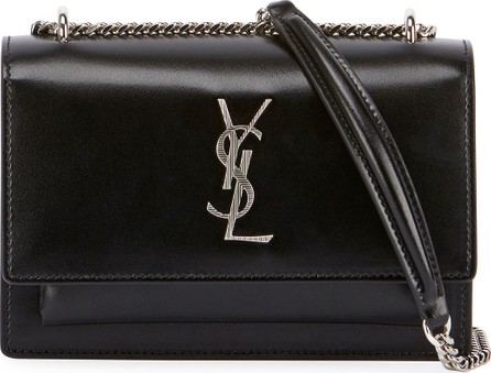 Saint Laurent Sunset Monogram YSL Small Calf Leather Wallet on Chain