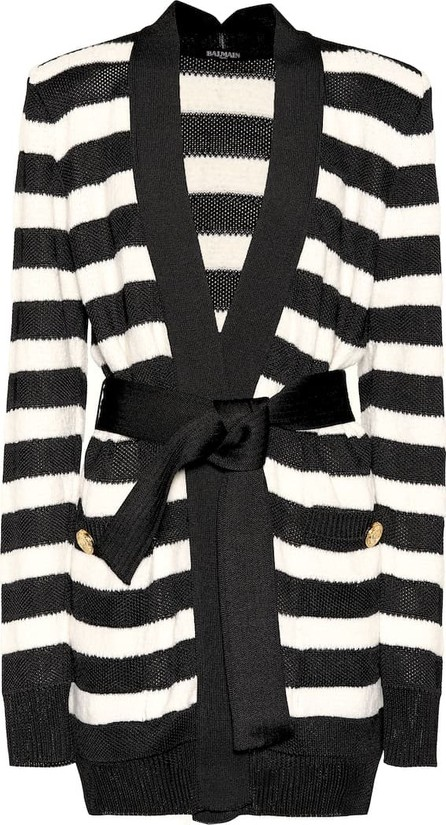 Balmain Striped knitted cardigan