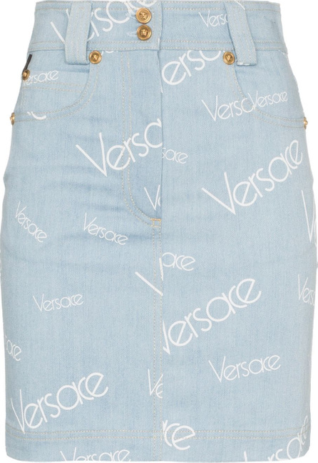Versace High waisted logo print denim skirt