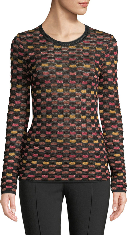 M Missoni Metallic Checker Long-Sleeve Top