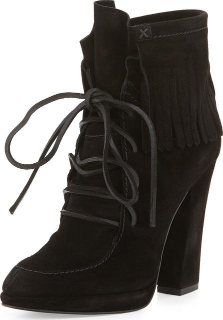 Giuseppe Zanotti Uma Lace-Up Fringe Boot, Black (Nero)