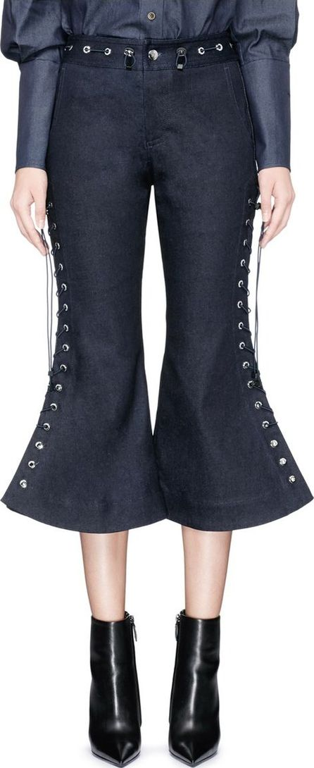Angel Chen Lace-up cropped flared denim pants