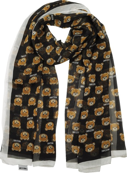 Moschino All-over Teddy Bear Printed Mussoline Silk Stole