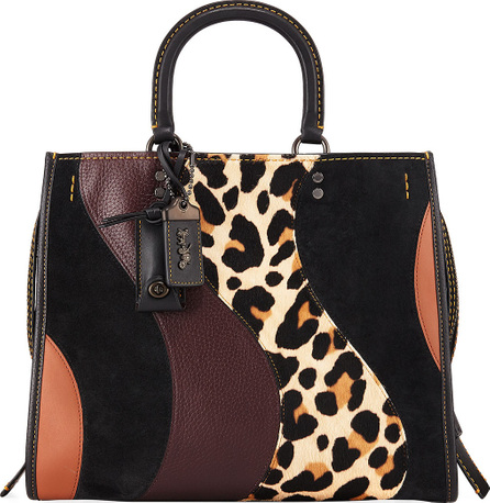 COACH 1941 Rogue Patchwork Leopard Tote Bag